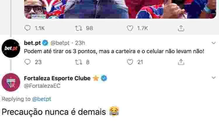Comentários geraram polêmica antes de serem apagados em publicação do Fortaleza  - Reprodução/Twitter