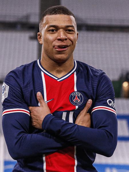 Kylian Mbappé comemora gol pelo PSG contra o Olympique de Marselha pelo Francês - Reprodução/Twitter/PSG