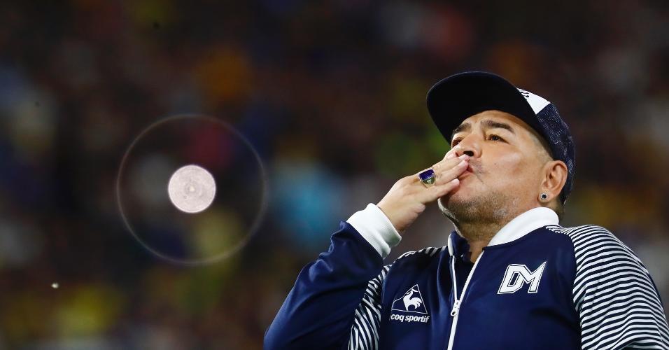 Diego Armando Maradona, técnico do Gimnasia y Esgrima em março de 2020