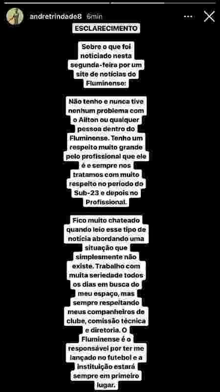 Em postagem no Instagram, André negou casos de indisciplina no Fluminense - Reprodução/Instagram - Reprodução/Instagram