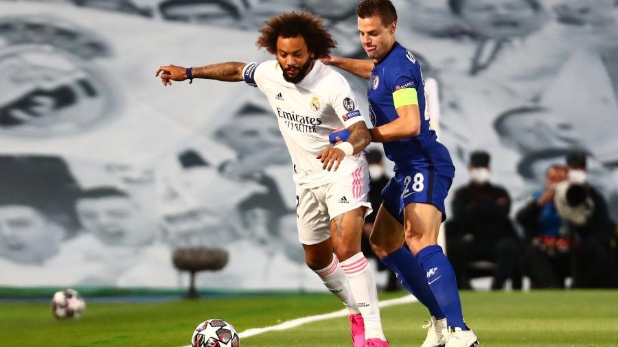 Marcelo durante duelo entre Real Madrid e Chelsea, pela semifinal da Liga dos Campeões - Sergio Perez/Reuters