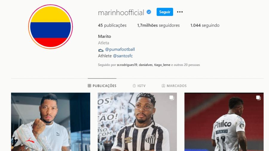 """Marinho colocou bandeira da Colômbia na foto de perfil no Instagram e alterou seu nome para """"Marito"""" - Reprodução/Instagram"""
