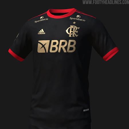 Projeção da nova camisa 3 do Flamengo, que deve ser toda preta - Reprodução/FootyHeadlines.com