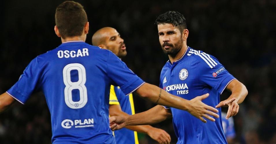 Diego Costa comemora com Oscar após marcar para o Chelsea contra o Maccabi Tel Aviv pela Liga dos Campeões