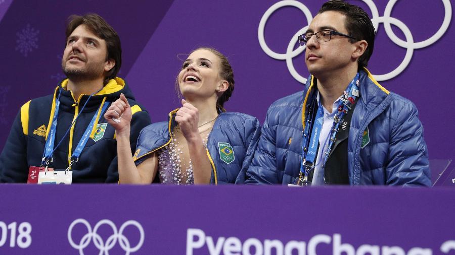 Isadora Williams comemora ao ver sua pontuação no programa curto em Pyeongchang - John Sibley/Reuters