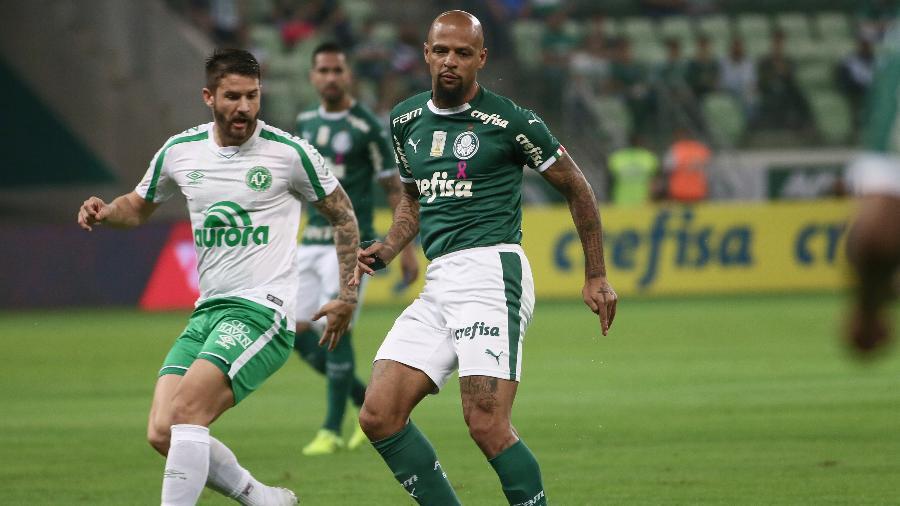 Felipe Melo, durante partida entre Palmeiras e Chapecoense - Marcello Zambrana/AGIF
