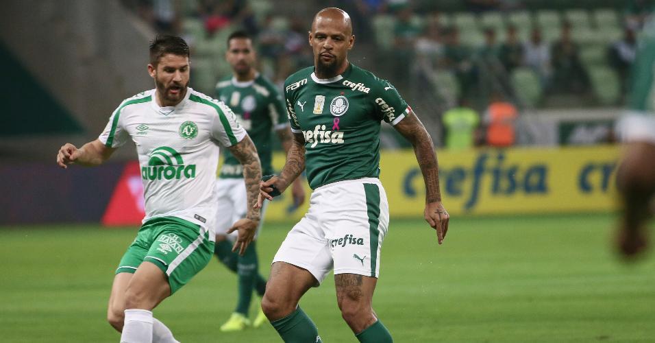 Felipe Melo, durante partida entre Palmeiras e Chapecoense