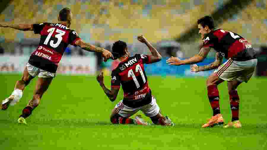 Jogadores do Flamengo devem entrar normalmente em campo no jogo de hoje - Marcelo Cortes/Flamengo