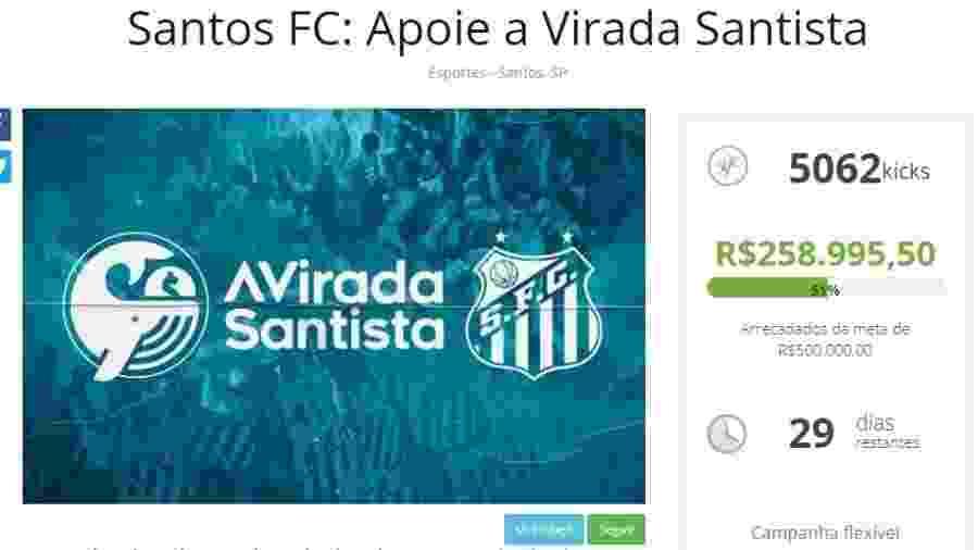 """""""Vaquinha"""" do Santos arrecadou metade do valor em menos de 24 horas - Reprodução"""
