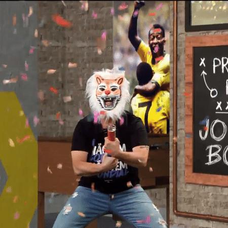 Neto com máscara de Tigre no Os Donos da Bola - Reprodução/TV Band