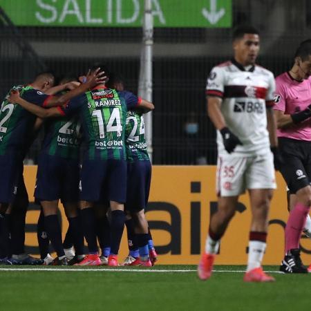 Unión La Calera comemora gol de Ariel Martínez - Pablo Sanhueza - Pool/Getty Images