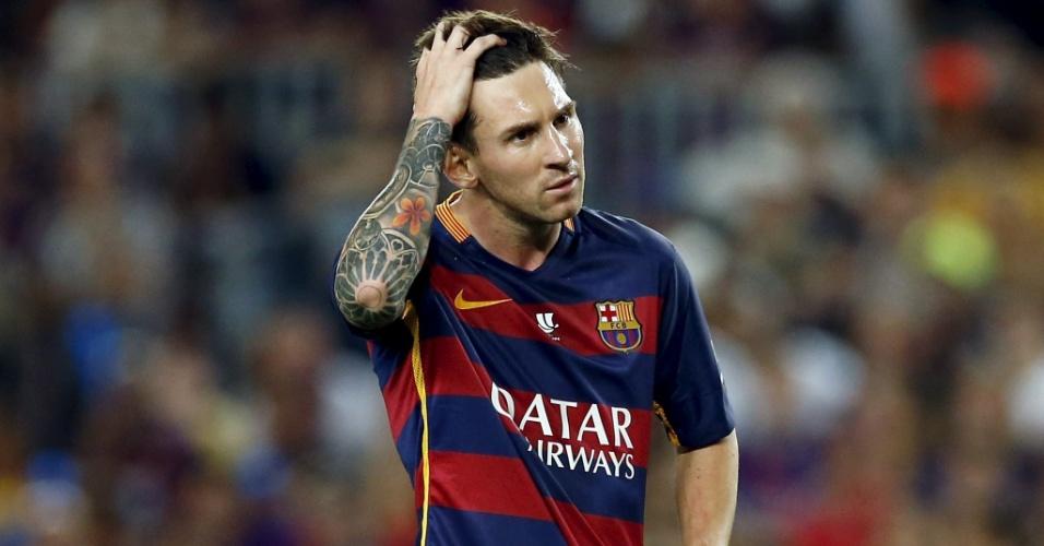 Messi lamenta durante confronto entre Barcelona e Athletic Bilbao