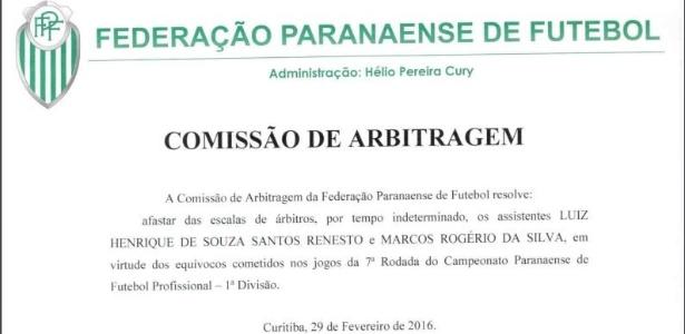 Decisão foi anunciada nesta segunda-feira no site da Federação Paranaense