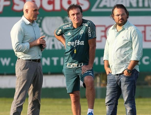 Galiotte, Mattos e Cuca conversaram com os jogadores no início das atividades - Cesar Greco/Ag. Palmeiras