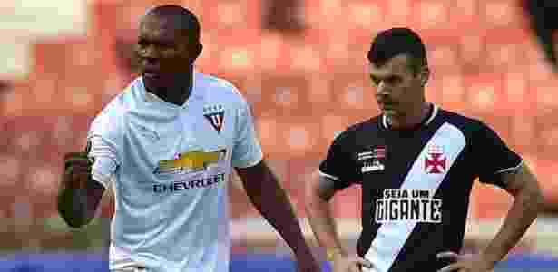 Juan Anangono comemora gol da LDU diante do Vasco, pela Copa Sul-Americana - AFP PHOTO / RODRIGO BUENDIA - AFP PHOTO / RODRIGO BUENDIA