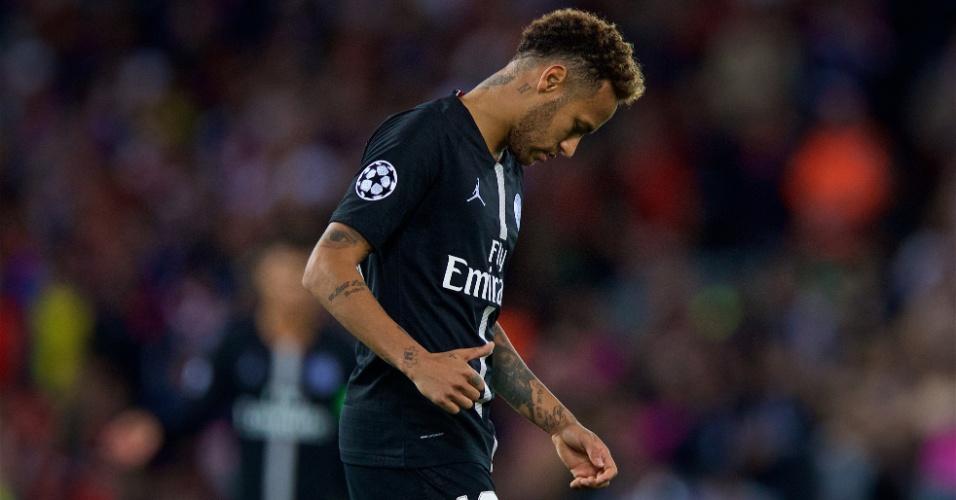 Neymar lamenta derrota do PSG para o Liverpool na Liga dos Campeões
