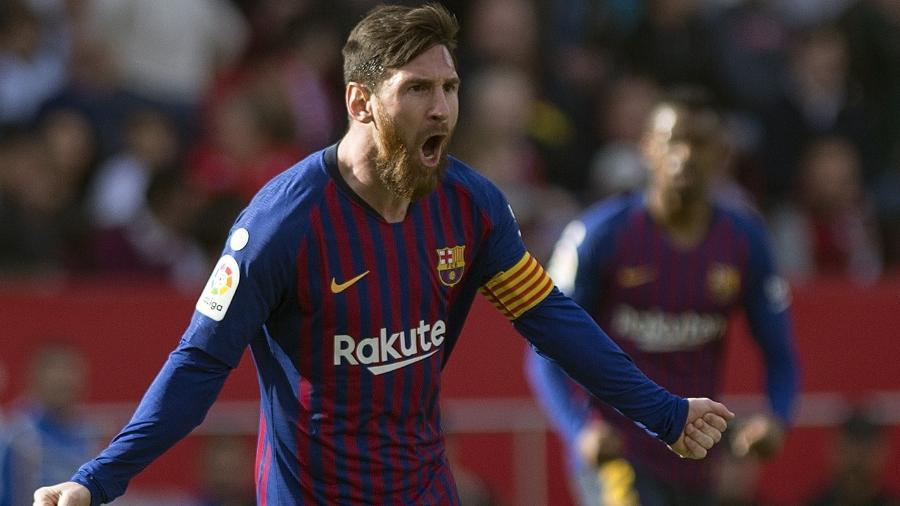 Messi faz três contra o Sevilla - JORGE GUERRERO / AFP)