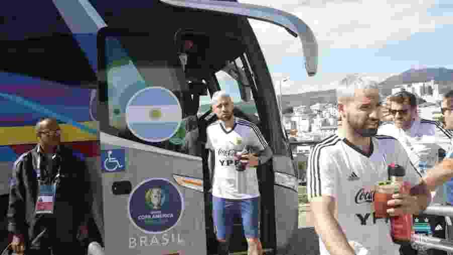 Seleção argentina chega ao estádio Independência para treinamento - Divulgação/AFA/Argentina