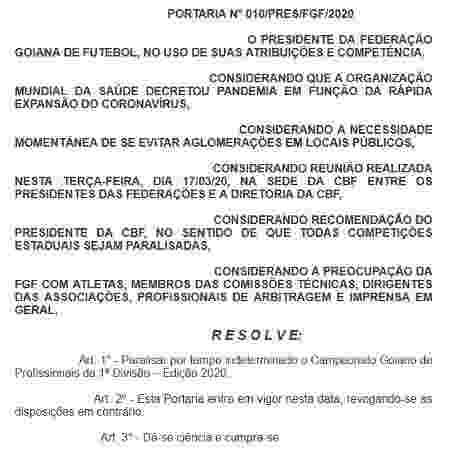 Portaria da Federação Goiana de Futebol informando a paralisação do Estadual - Reprodução/FGF - Reprodução/FGF