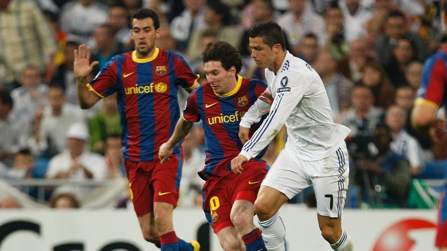 Presidente do Barcelona sonha com Cristiano Ronaldo e Lionel Messi juntos no clube catalão - Helios de la Rubia/Real Madrid via Getty Images