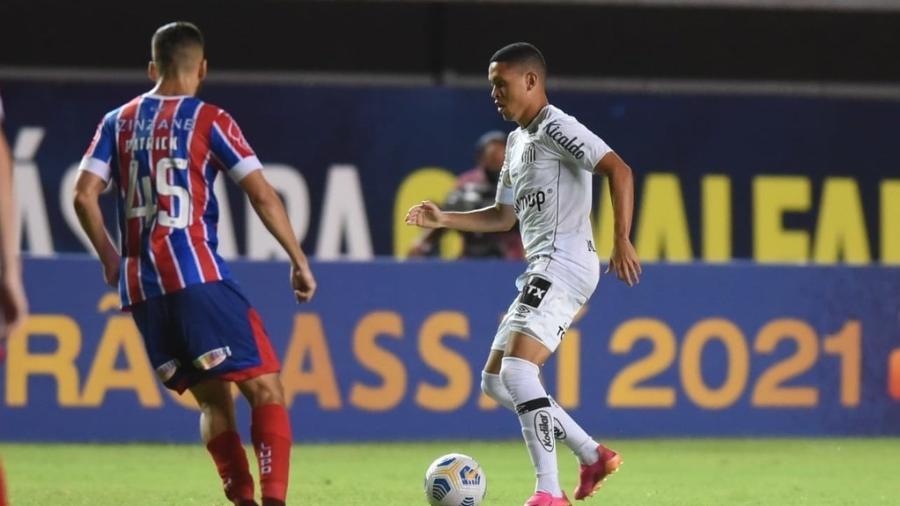 Marcos Guilherme, do Santos, em campo contra o Bahia pela 1ª rodada do Brasileirão - Ivan Storti/Santos FC
