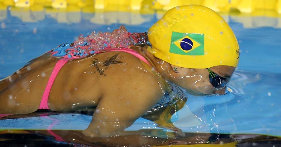 Joanna Maranhão na água para a prova dos 400m medley
