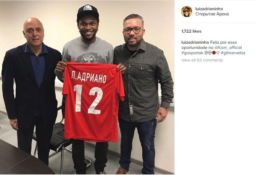 Luiz Adriano é apresentado no Spartak Moscou
