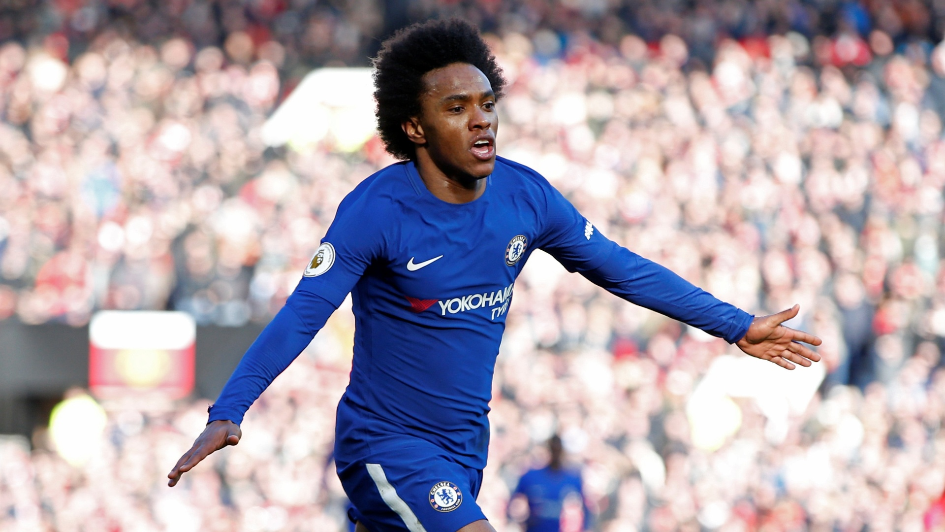 Willian comemora gol do Chelsea contra o Manchester United