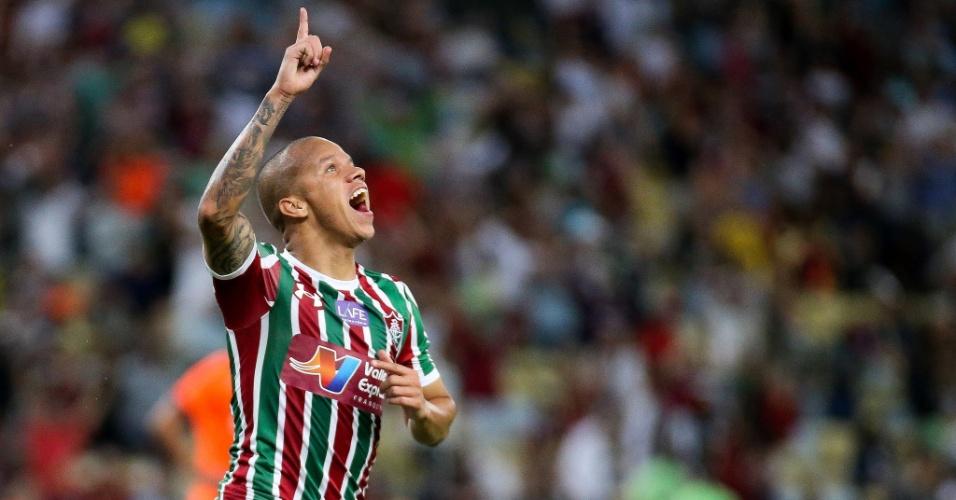 Marcos Júnior comemora gol para o Fluminense diante do Atlético-PR em jogo pela sexta rodada do Brasileirão 2018