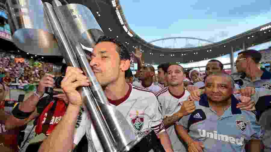 Liderado pelo capitão Fred, o Fluminense comemora o título do Campeonato Brasileiro de 2012 - Buda Mendes/LatinContent via Getty Images
