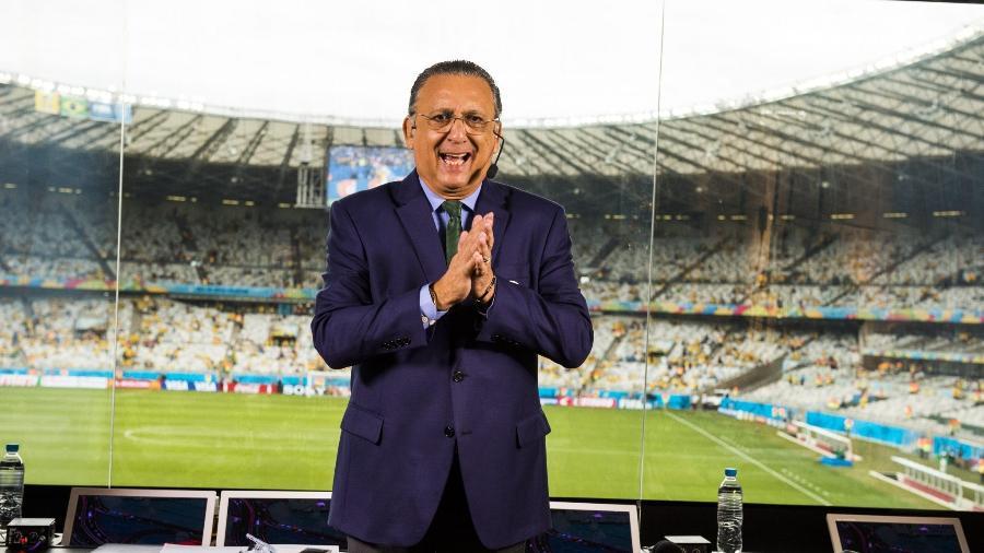 Galvão Bueno na cabine de transmissão do Estádio Mineirão em Belo Horizonte na semifinal da Copa do Mundo em 2014 - Memória Globo/João Miguel Júnior/Globo