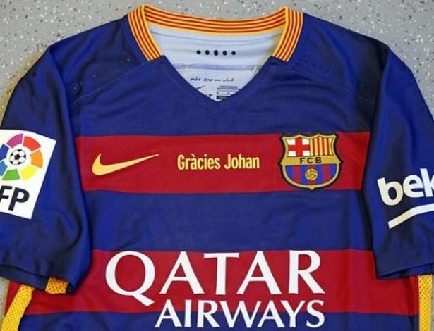Camisa terá inscrição especial de agradecimento a Cruyff