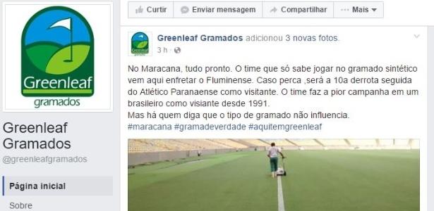 Greenleaf Gramados provoca Atlético-PR por conta de campo sintético