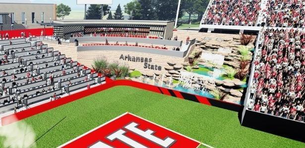 Projeto de estádio de Arkansas State prevê cachoeiras numa das extremidades do campo - Reprodução