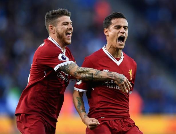 Philippe Coutinho comemora gol contra o Leicester