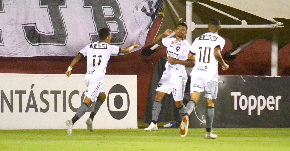 Jogadores do Botafogo comemoram gol sobre o Vitória no Barradão