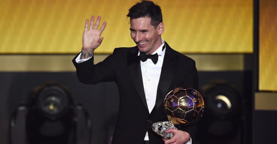 Messi durante a cerimônia do prêmio Bola de Ouro em 2016