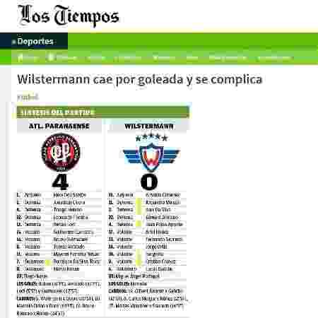 Jornal boliviano erra escudo do Athletico - Reprodução