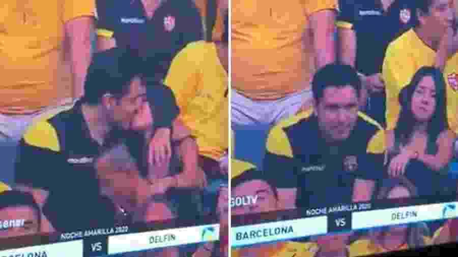 Câmera do beijo deu flagra em casal que não ficou tão feliz - Reprodução/Twitter