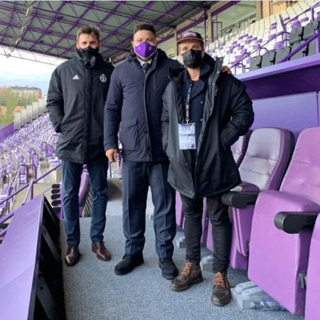 Ronaldo ao lado de Bruno Gagliasso e Paulo André no estádio José Zorrilla, em Valladolid - Reprodução/Instagram