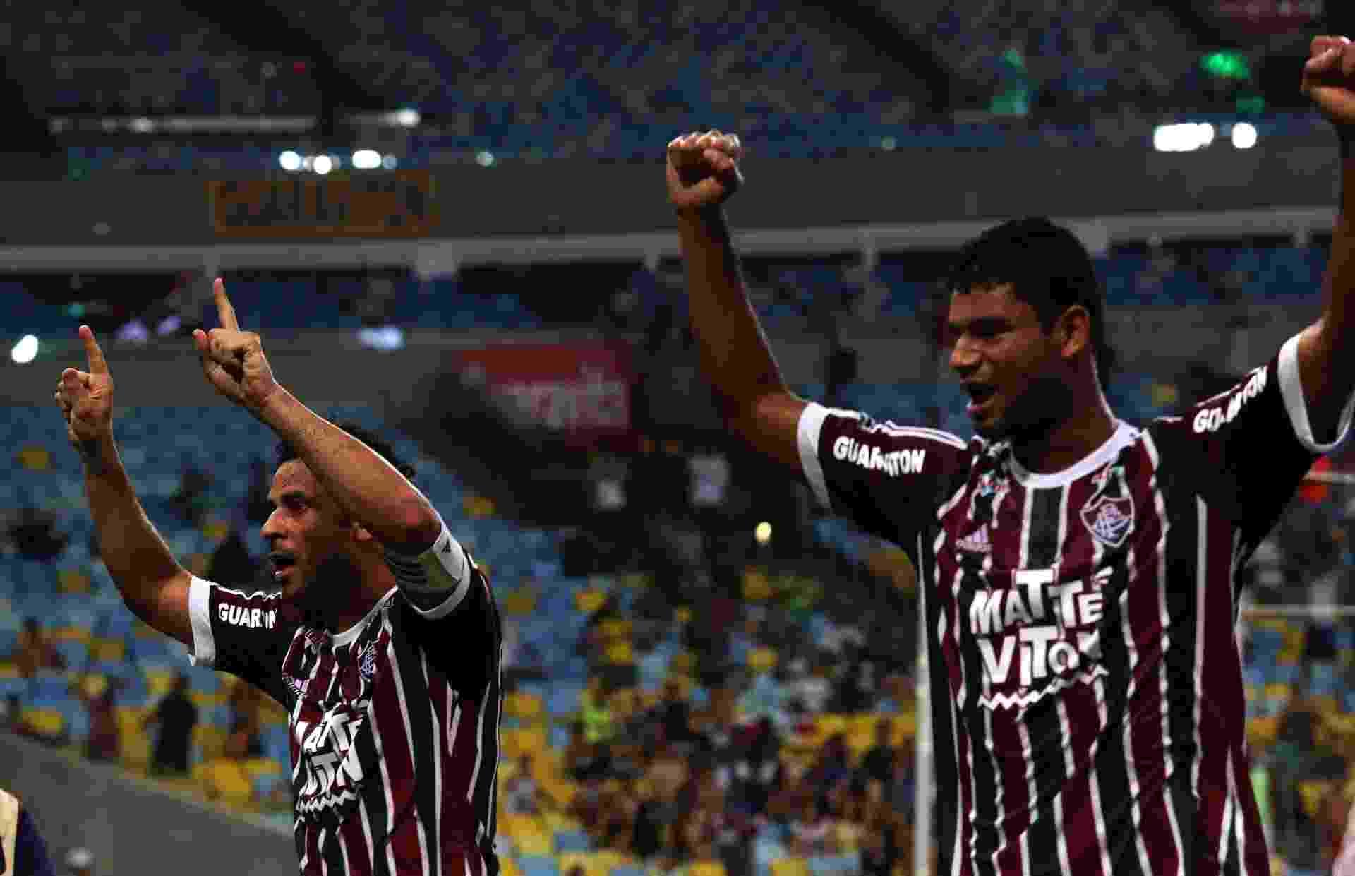 Fred e Gum comemoram após o Fluminense abrir o placar contra o Palmeiras pela Copa do Brasil - Nelson Perez/Fluminense FC