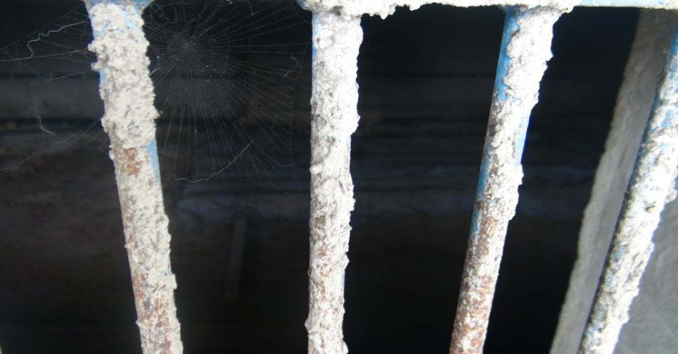 Teias de aranha tomam conta das bilheterias do Estádio Municipal do Guarujá, que está impedido de receber partidas oficiais