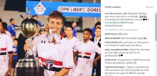 Lucas Fernandes foi campeão da Copa Libertadores sub-20 com o São Paulo