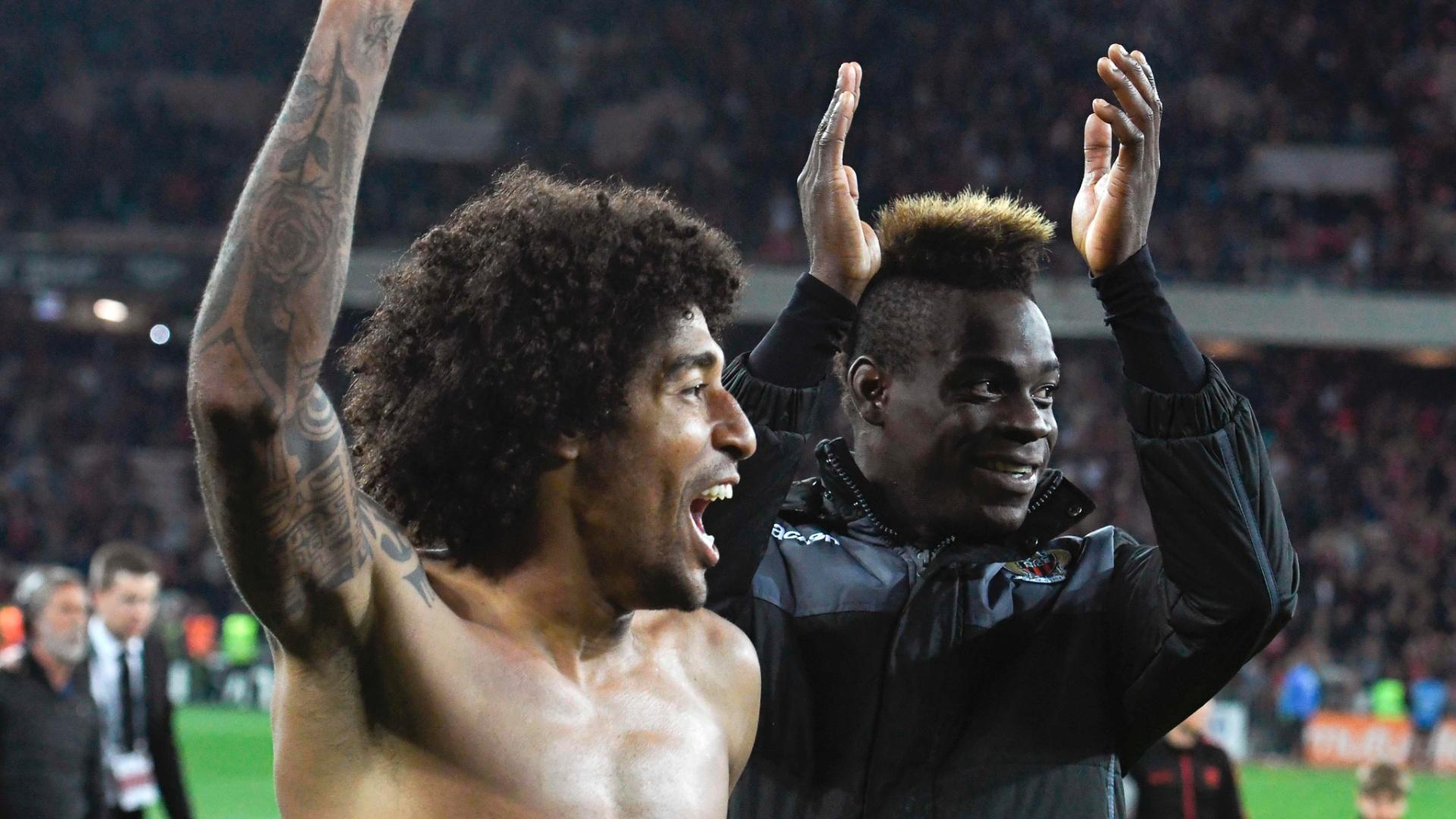 Dante e Balotelli comemoram vitória do Nice sobre o PSG