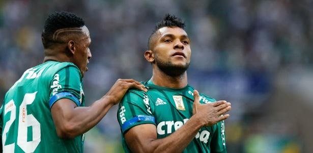 Borja comemora gol para o Palmeiras diante do Vasco pela primeira rodada do Campeonato Brasileiro 2017