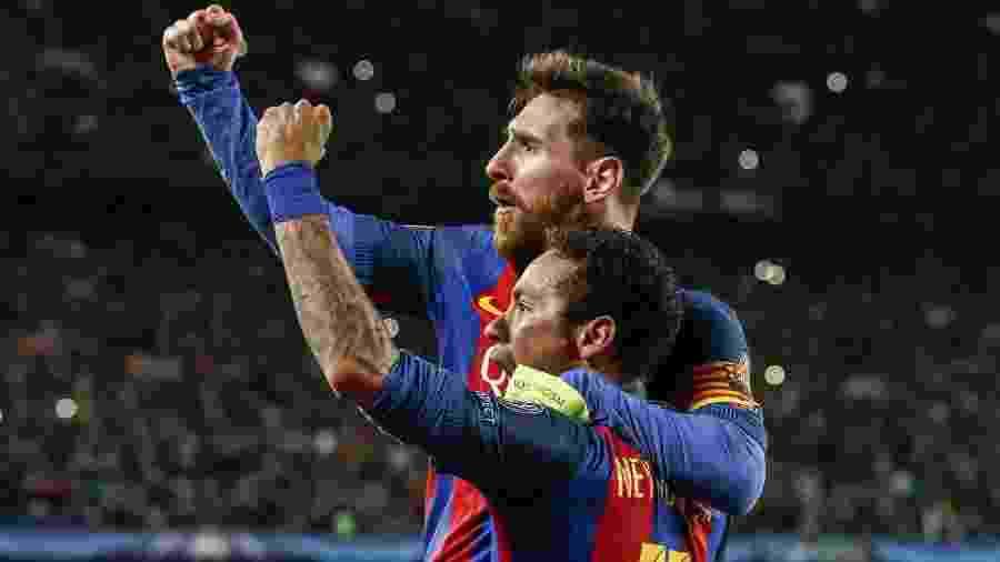 Messi e Neymar comemoram classificação do Barça contra o PSG em 2017 - Xinhua/Hollandse-Hoogte/ZUMAPRESS