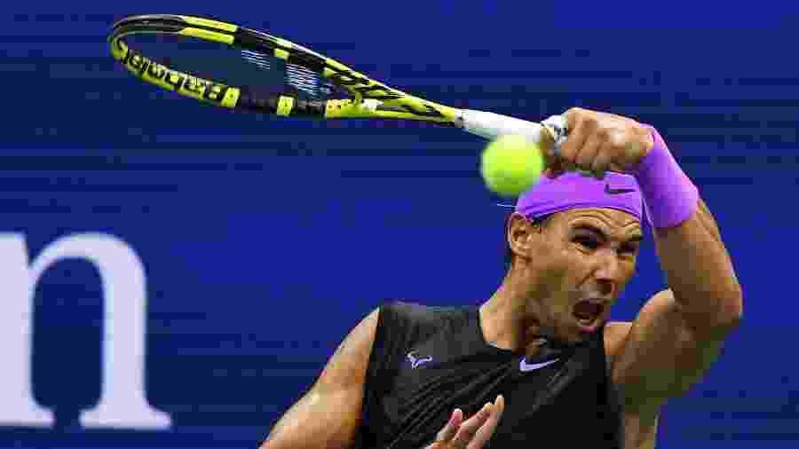 Rafael Nadal, durante a partida contra Matteo Berrettini - Johannes EISELE / AFP
