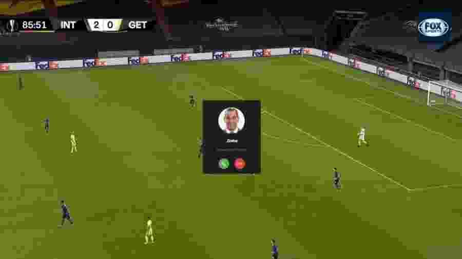 Ligação de Zinho invadiu transmissão de jogo no Fox Sports - Reprodução/Fox Sports