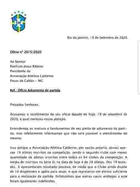 Documento da CBF diz que Caldense não tinha razão em solicitar adiamento - Reprodução