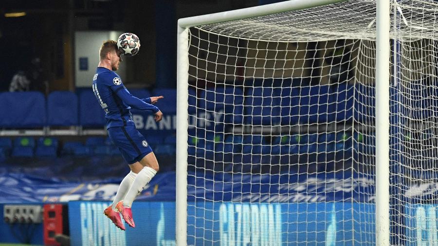 Timo Werner, sozinho, marca para o Chelsea contra o Real Madrid na semifinal da Champions - Glyn KIRK / AFP
